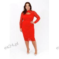 Elegancka sukienka z koronki czerwień 44 Odzież, Obuwie, Dodatki