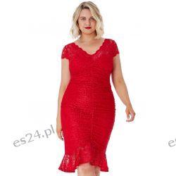 Elegancka sukienka z koronki czerwień 54 Odzież, Obuwie, Dodatki