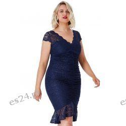 Elegancka sukienka z koronki granat 52 Odzież, Obuwie, Dodatki