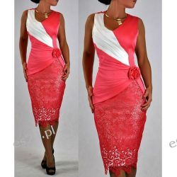 """Seksowna sukienka """"Monique"""" koral duże rozmiary 46 Odzież, Obuwie, Dodatki"""