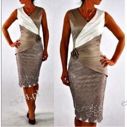 """Seksowna sukienka """"Monique"""" beż duże rozmiary 48 Odzież, Obuwie, Dodatki"""