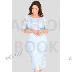 Seksowna sukienka z koronki błękitna 46 Odzież, Obuwie, Dodatki
