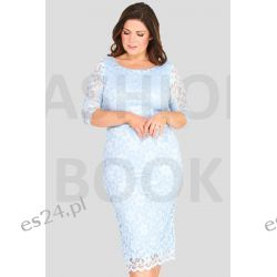 Seksowna sukienka z koronki błękitna 52 Odzież, Obuwie, Dodatki