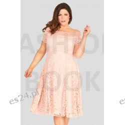 Seksowna sukienka z koronki różowa 46 Sukienki wieczorowe
