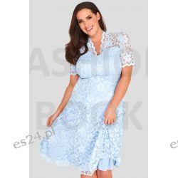 Seksowna sukienka z koronki błękitna 46