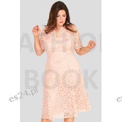 Seksowna sukienka z koronki różowa 46