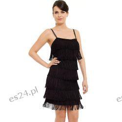 Śliczna sukienka z frędzlami czarna S Odzież, Obuwie, Dodatki