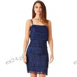Śliczna sukienka z frędzlami granatowa M Odzież, Obuwie, Dodatki