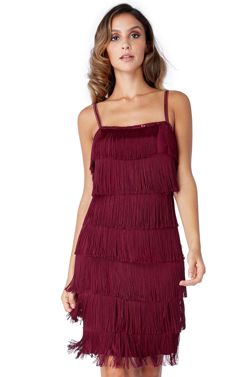 56cda3f1b7 Śliczna sukienka z frędzlami kolor wina S na Bazarek.pl
