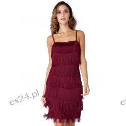 Śliczna sukienka z frędzlami kolor wina M Sukienki wieczorowe