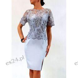 Elegancka sukienka Ewelina szara 48 Odzież, Obuwie, Dodatki