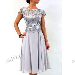 Elegancka sukienka Amanda szara 44 Odzież, Obuwie, Dodatki