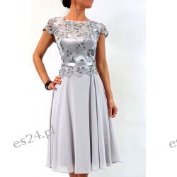 Elegancka sukienka Amanda szara 48
