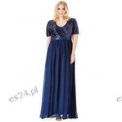 Zjawiskowa sukienka cekiny szyfon maxi granatowa 52 Odzież, Obuwie, Dodatki