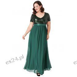 Zjawiskowa sukienka cekiny szyfon maxi zielona 46 Odzież, Obuwie, Dodatki