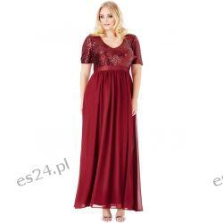 Zjawiskowa sukienka cekiny szyfon maxi w kolorze wina 46 Sukienki wieczorowe