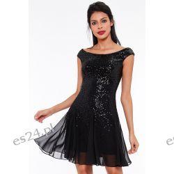 Luksusowa czarna sukienka cekiny-szyfon S Odzież, Obuwie, Dodatki