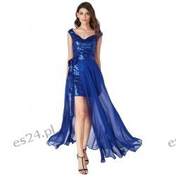Luksusowa sukienka 2 w 1 cekiny-szyfon szafir L