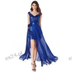 Luksusowa sukienka 2 w 1 cekiny-szyfon szafir XL Odzież damska
