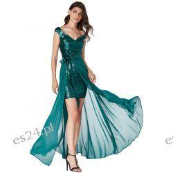 Luksusowa sukienka 2 w 1 cekiny-szyfon zielona XS Odzież, Obuwie, Dodatki