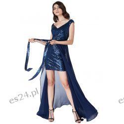 Luksusowa sukienka 2 w 1 cekiny-szyfon granatowa S Odzież, Obuwie, Dodatki