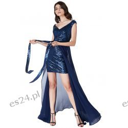 Luksusowa sukienka 2 w 1 cekiny-szyfon granatowa XL Odzież, Obuwie, Dodatki