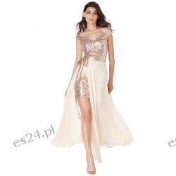 Luksusowa sukienka 2 w 1 cekiny-szyfon złota XS Odzież, Obuwie, Dodatki