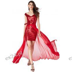 Luksusowa sukienka 2 w 1 cekiny-szyfon czerwona XS Odzież, Obuwie, Dodatki
