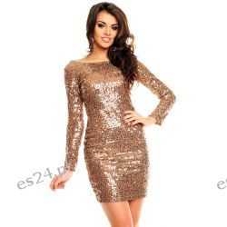Śliczna brązowa sukienka cekiny długi rękaw L Odzież, Obuwie, Dodatki