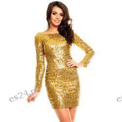 Śliczna złota sukienka cekiny długi rękaw XL Odzież, Obuwie, Dodatki