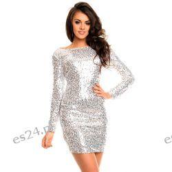 Śliczna srebrna sukienka cekiny długi rękaw XL Odzież, Obuwie, Dodatki
