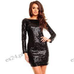 Śliczna czarna sukienka cekiny długi rękaw L