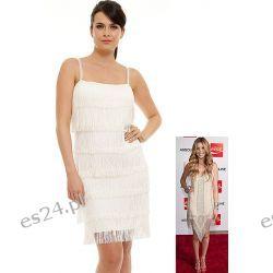 Śliczna sukienka z frędzlami ecru S Odzież, Obuwie, Dodatki