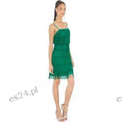 Śliczna sukienka z frędzlami zielona L Odzież, Obuwie, Dodatki