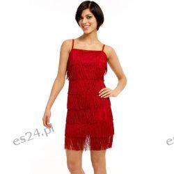 Śliczna sukienka z frędzlami czerwona L Sukienki wieczorowe