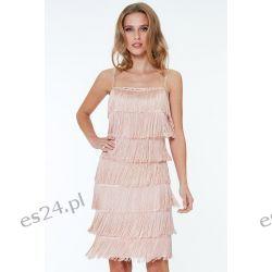 Śliczna sukienka z frędzlami beżowa M Sukienki midi