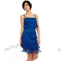 Śliczna sukienka z frędzlami szafirowa S  Sukienki wieczorowe