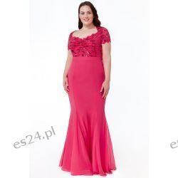 Zjawiskowa sukienka z cekinami różowa 50