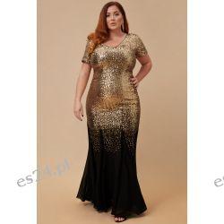 Zjawiskowa sukienka z cekinów złoto-czarna 52