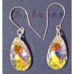 Kolczyki z kryształów Swarovskiego - migdały kryształ AB 24 x 12 mm Na rękę