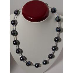 Naszyjnik z pereł Majorka i kryształków Swarovskiego
