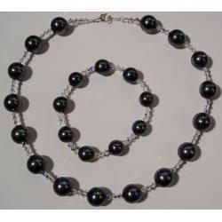 Naszyjnik i bransoletka z perłami Majorka i kryształkami Swarovskiego Komplety