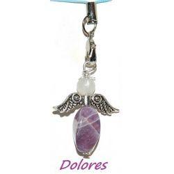 Ametystowy aniołek z główką z kwarcu różowego - na mądre podejmowanie decyzji z miłością w sercu Na rękę