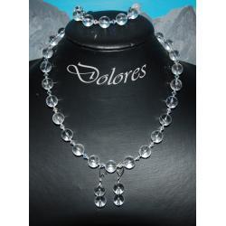 Naszyjnik, bransoletka i kolczyki z 1 cm kulek z kryształu górskiego. srebrnych kulek i kryształków Swarovskiego  Komplety
