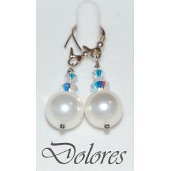 Srebrne kolczyki z białą perłą Majorka i kryształkami Swarovskiego