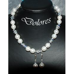 Naszyjnik i srebrne kolczyki z białą perłą Majorka i kryształkami Swarovskiego