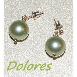 Kolczyki na srebrnym sztyfcie z perłą Majorka koloru khaki Pozostałe
