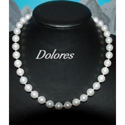 Naszyjnik z białych pereł Majorka przekładanych srebrnymi kulkami Korale