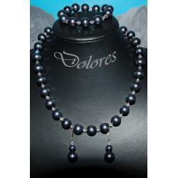 Naszyjnik, bransoletka i kolczyki z pereł Majorka i kryształków Swarovskiego Na rękę