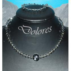 Naszyjnik i bransoletka z kryształków Swarovskiego silver night Kolczyki